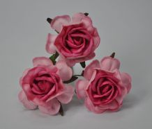 LIGHT PINK PINK CENTER HYBRID TEA ROSES Mulberry Paper Roses (6)
